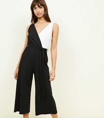 Black Colour Block Ribbed Wrap Jumpsuit