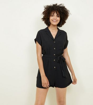 Black Revere Collar Tie Waist Playsuit