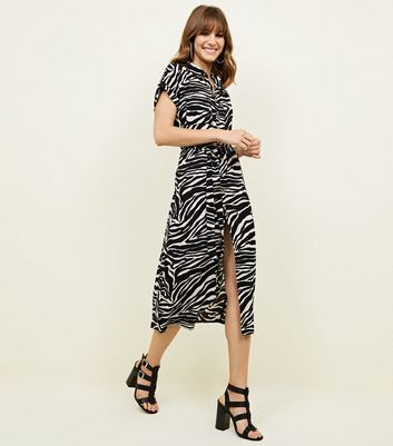 Black Zebra Print Midi Shirt Dress