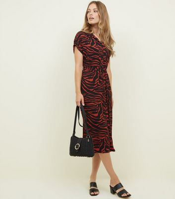 Red Zebra Print Midi Shirt Dress