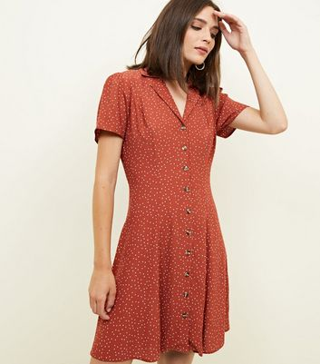 Rust Spot Print Button Through Tea Dress