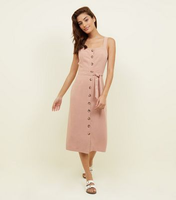 Pale Pink Belted Button Front Midi Dress by New Look