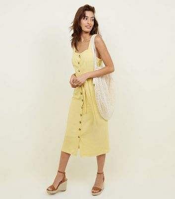 Yellow Belted Button Front Midi Dress
