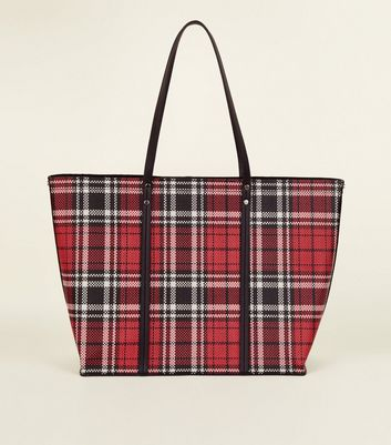 Red Leather-Look Tartan Tote Bag