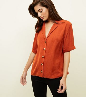 Orange Button Front 1/2 Sleeve Boxy Shirt