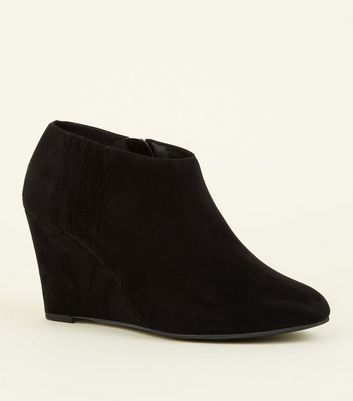 Black Comfort Suedette Wedge Shoe Boots by New Look