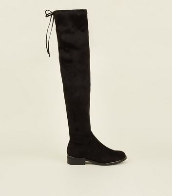 Black Knee Height Flat Drawstring Top Boot by New Look
