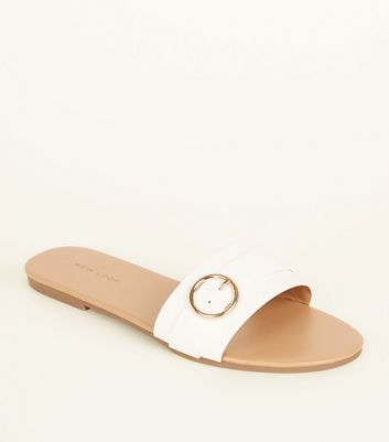 White Circle Buckle Strap Mules