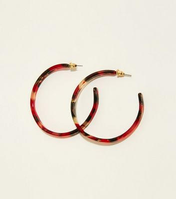 Red And Brown Resin Skinny Hoop Earrings by New Look