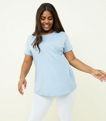 Curves Pale Blue Cotton Blend T-Shirt