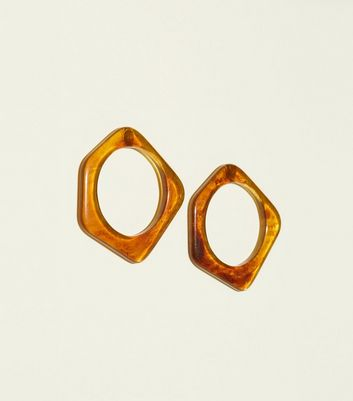 Rust Resin Pentagon Stud Earrings by New Look