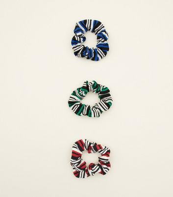 3 Pack Multicoloured Stripe Scrunchie