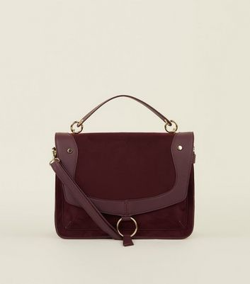 Burgundy Suedette Ring Trim Satchel