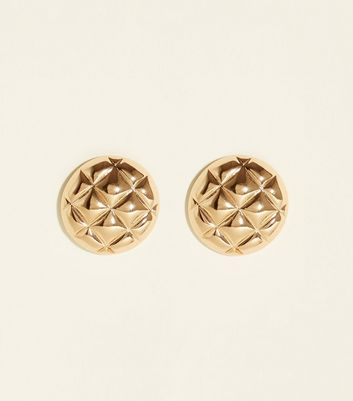 Gold Quilted Stud Earrings
