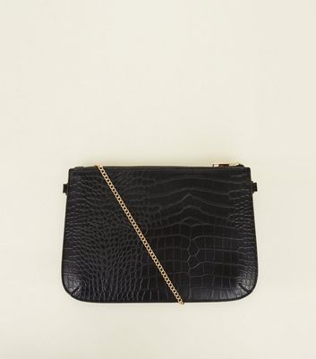 Black Faux Snakeskin Zip Top Clutch