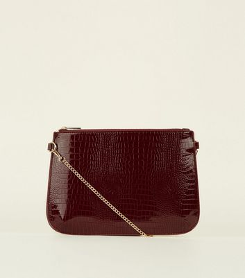 Burgundy Faux Snakeskin Zip Top Clutch