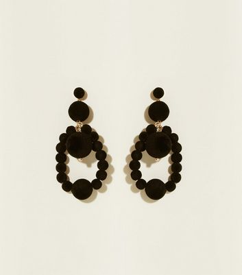 Black Flocked Bead Drop Earrings