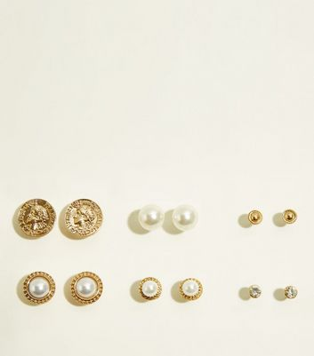 6 Pack Gold Coin and Faux Pearl Stud Earrings