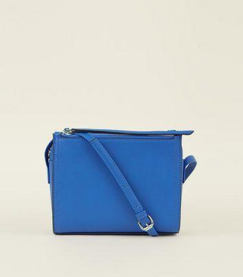 Bright Blue 3 Zip Cross Body Bag by New Look