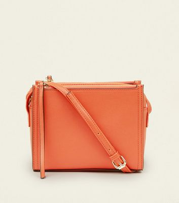 Bright Orange 3 Zip Cross Body Bag