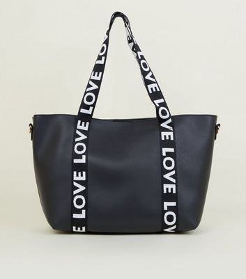 Black Love Slogan Leather-Look Tote Bag