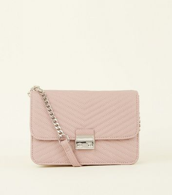 Pale Pink Quilted Shoulder Bag