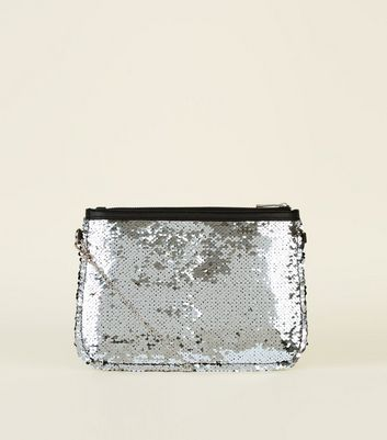 Silver 2 Way Sequin Clutch Bag
