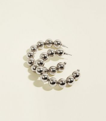 Silver Chunky Bead Hoop Earrings