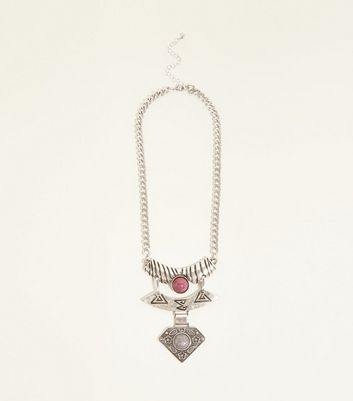 Silver Ethnic Articulated Short Necklace