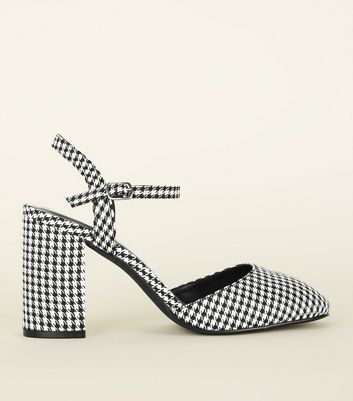 Black Houndstooth Two Part Court Shoes
