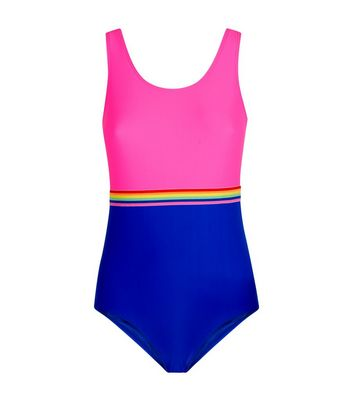 Girls Rainbow Waist Stripe Swimsuit