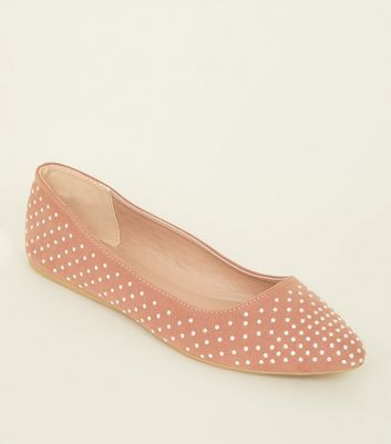 Pink Suedette Studded Pointed Ballet Pumps