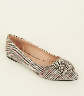 Grey Check Bow Pointed Ballet Pumps