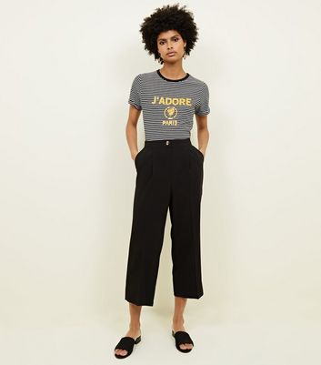 Black Cropped Straight Leg Trousers