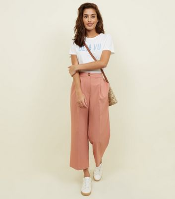 Mid Pink Cropped Straight Leg Trousers by New Look