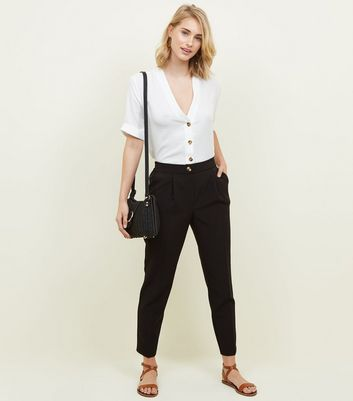 Black Crepe Tapered Trousers by New Look