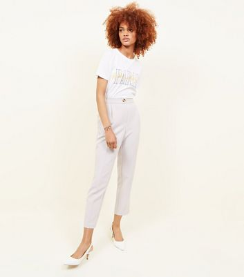 Pale Grey Crepe Tapered Trousers by New Look