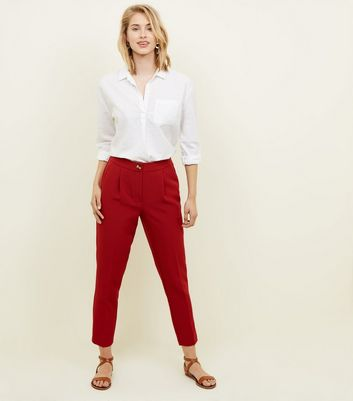 Dark Red Crepe Tapered Trousers