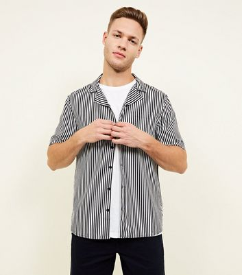 Black And White Stripe Viscose Shirt by New Look