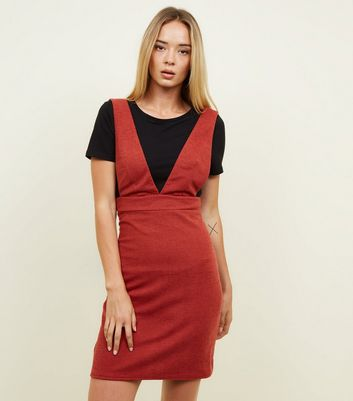 Red V Neck Pinafore Dress
