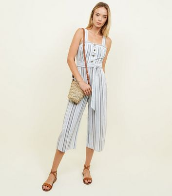 Blue Stripe Button Front Linen-Look Jumpsuit