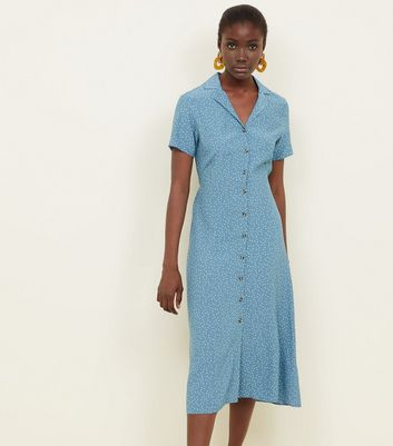 Blue Spot Print Button Through Midi Dress