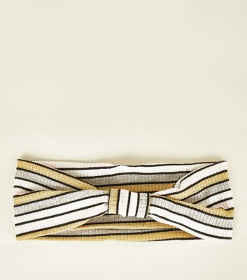Multi Coloured Metallic Stripe Ribbed Headband