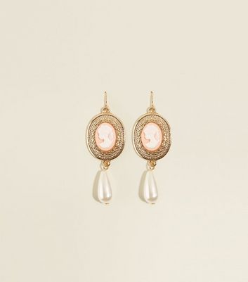 Pale Pink and Gold Cameo Faux Pearl Drop Earrings