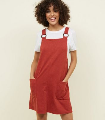 Dark Red Round Buckle Pinafore Dress