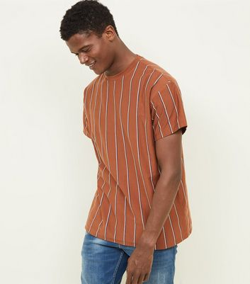 Mid Brown Vertical Stripe T-Shirt