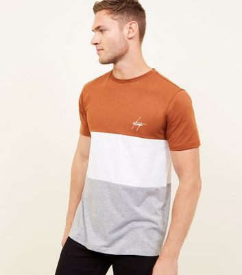 Brown Colour Block Atlanta Embroidered T-Shirt