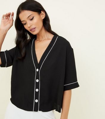 Black Button Front Contrast Piped Boxy Shirt