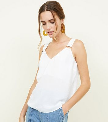 Off White Faux Horn Buckle Strap Cami