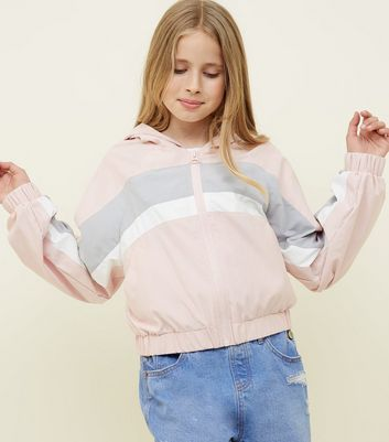 Teens Pink Colour Block Windbreaker Jacket